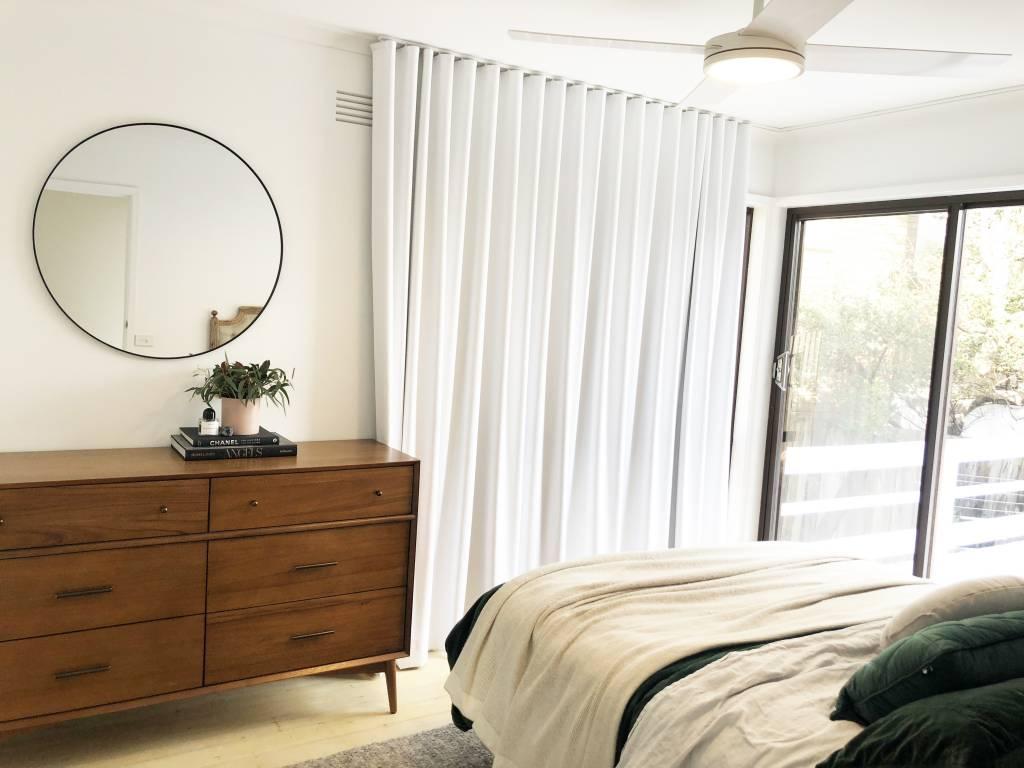 bedroom, retro bedroom, wooden sideboard, bedroom renovation